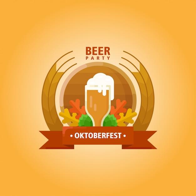 Oktoberfest vlakke afbeelding logo Premium Vector