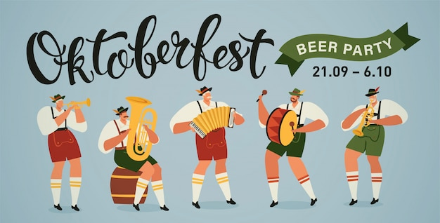 Oktoberfest wereld grootste bierfestival opening parade muzikanten banner Premium Vector