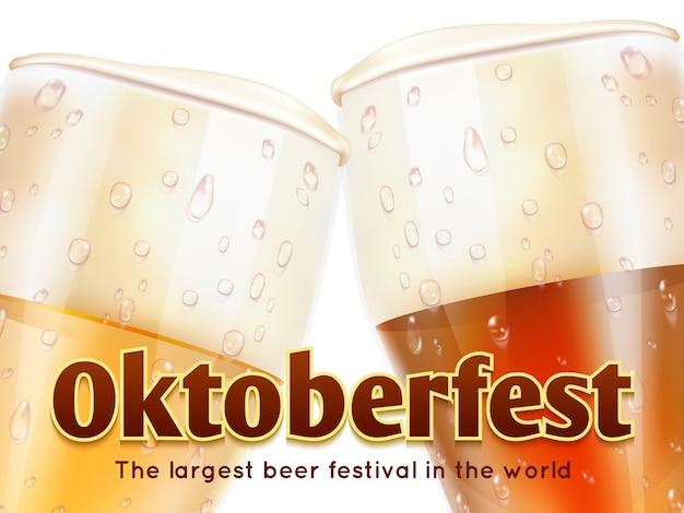 Oktoberfestbanner met realistische glazen bier op wit Premium Vector