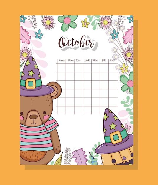 Oktoberkalender met schattige beertjes dier Premium Vector