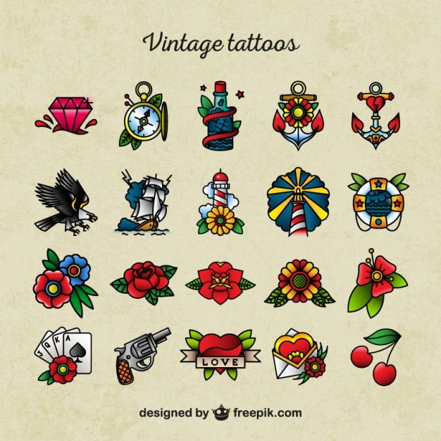 Old School Tattoo Pictogrammen Vector Premium Download