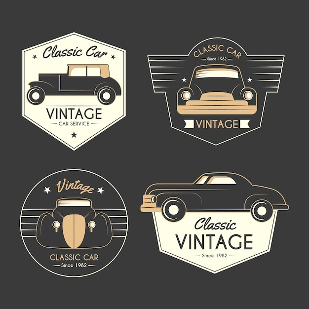 Oldtimer logo collectie concept Gratis Vector
