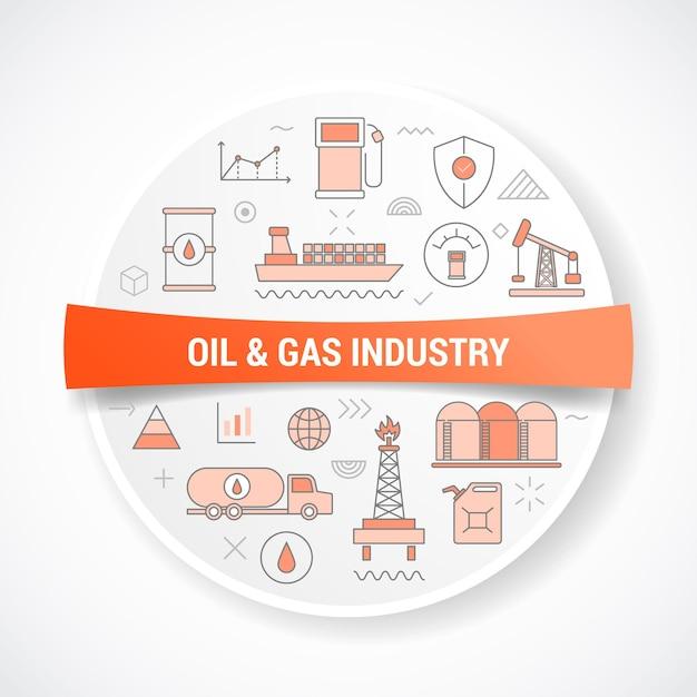 Olie- en gasindustrieconcept met concept met ronde of cirkelvorm Premium Vector