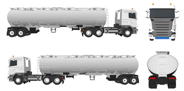 Olie en vrachtwagen vrachtwagens voor bouwwerkzaamheden Premium Vector