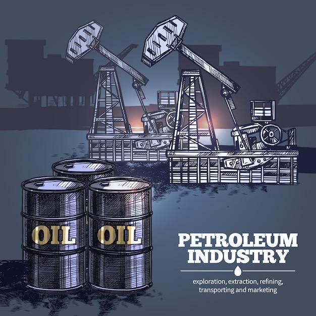 Olie industrie achtergrond Gratis Vector