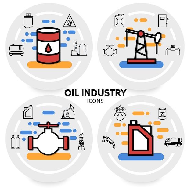 Olie-industrie concept met bus booreiland klep vat raffinaderij fabriek pijp brandstofpomp dispenser vrachtwagen Gratis Vector