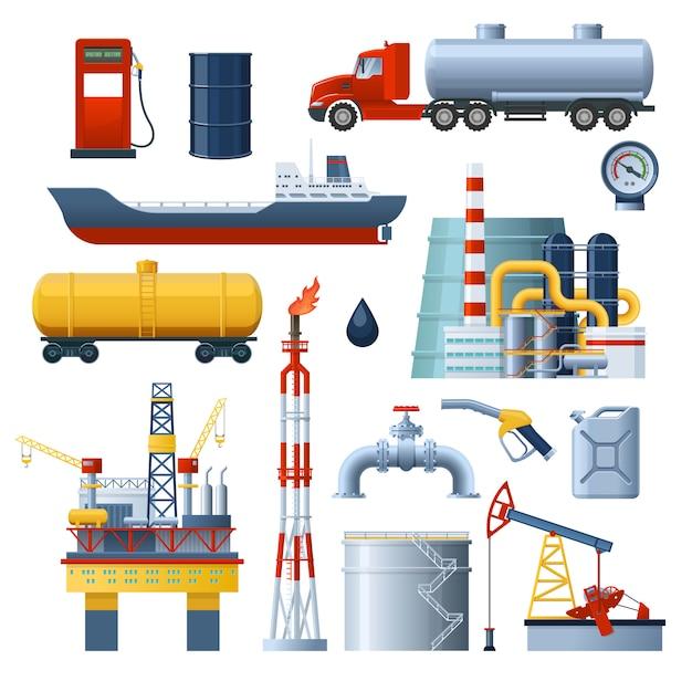 Olie-industrie elementen instellen Gratis Vector