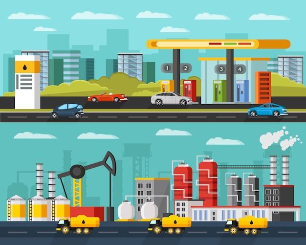 Olie-industrie horizontale banners Gratis Vector