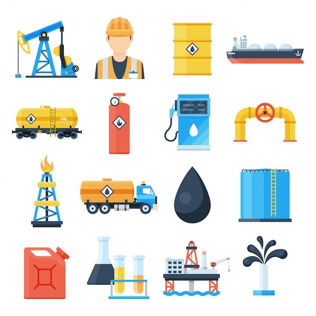 Olie-industrie icon set Premium Vector