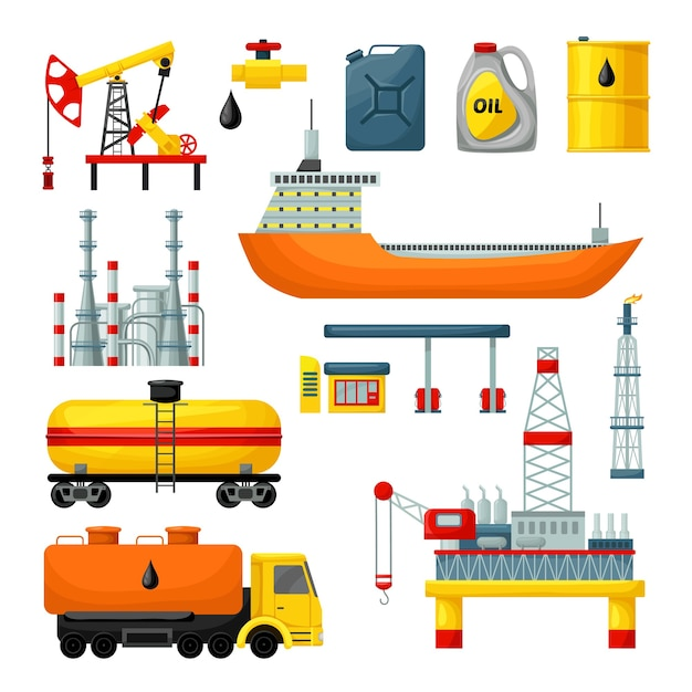 Olie-industrie iconen collectie Gratis Vector