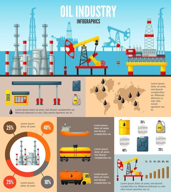 Olie-industrie infographic Gratis Vector