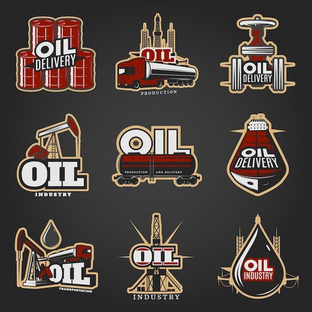 Olie-industrie kleurrijke logo's Gratis Vector
