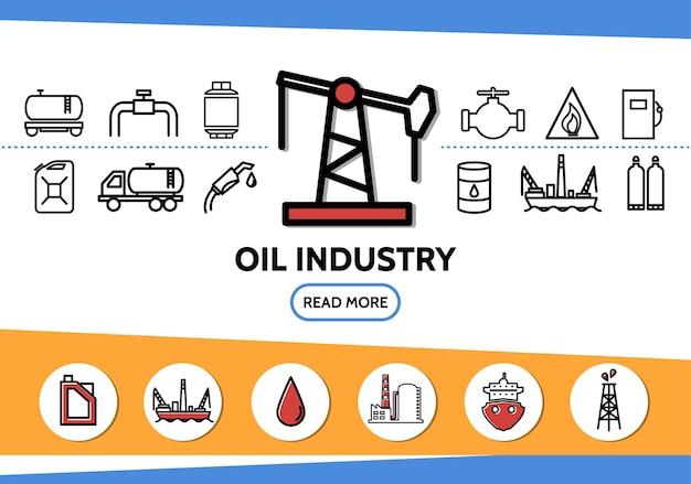 Olie-industrie lijn pictogrammen instellen met booreiland tanker pijp klep brandstof pistool dispenser boortoren bus vrachtwagen Gratis Vector
