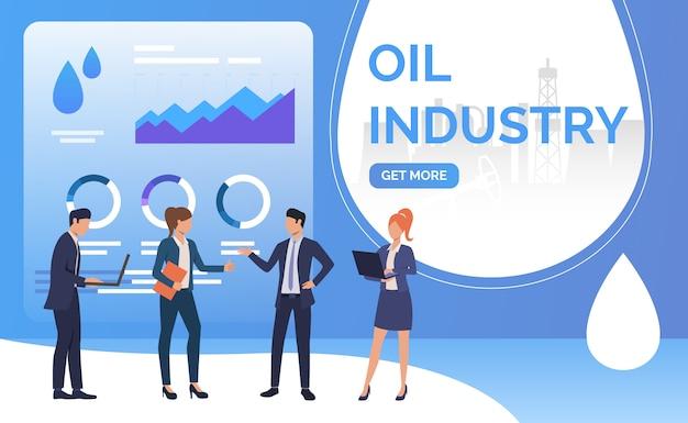 Olie-industrie mensen uit het bedrijfsleven werken en onderhandelen, diagrammen Gratis Vector