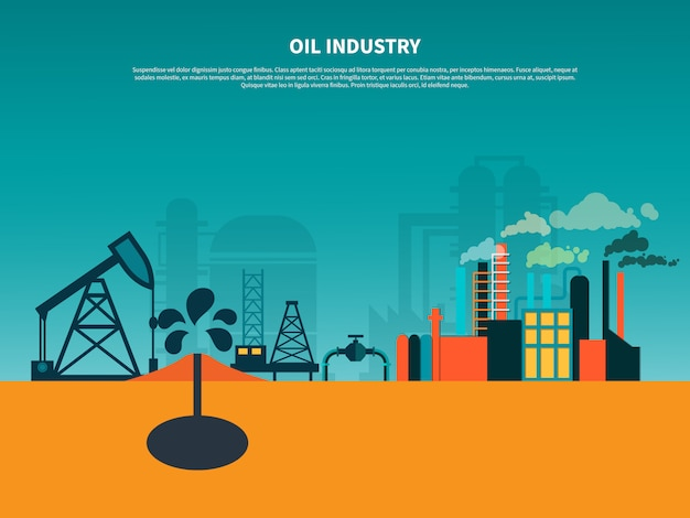 Olie-industrie platte banner Gratis Vector