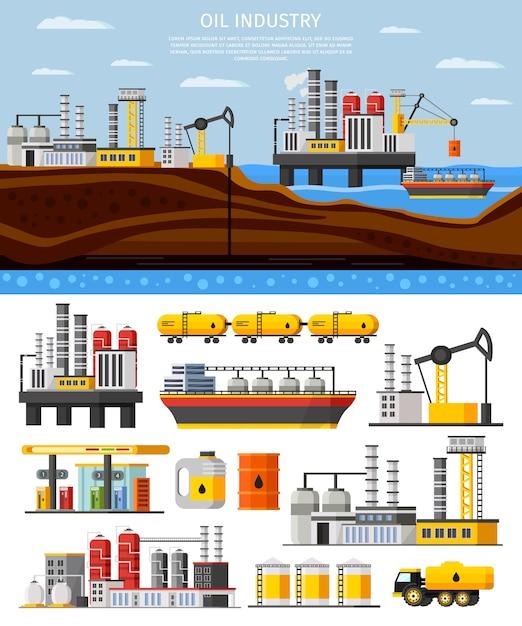 Olie-industrie samenstelling Gratis Vector