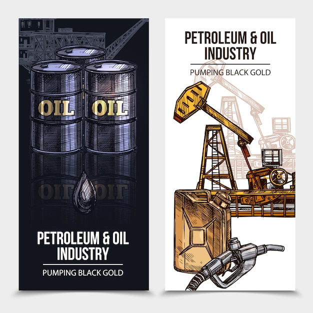 Olie-industrie verticale banners Gratis Vector