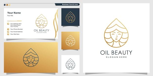 Olie schoonheid logo set Premium Vector