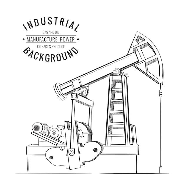 Oliepomp industriële machine Gratis Vector