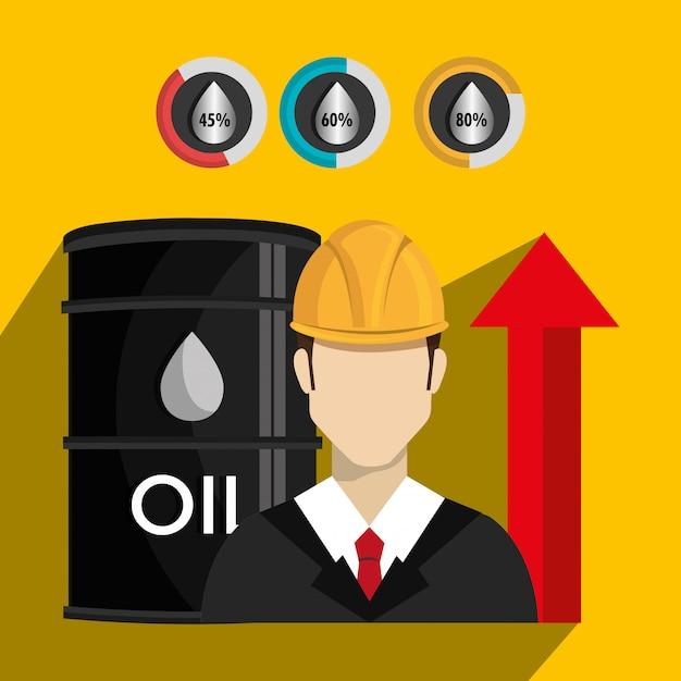 Olieprijzen en industrie Gratis Vector