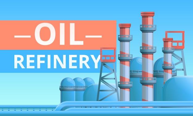 Olieraffinaderij concept illustratie, cartoon stijl Premium Vector