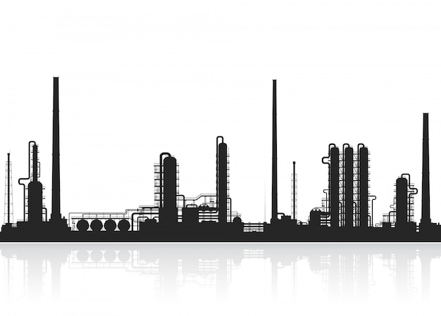 Olieraffinaderij of chemische fabriekssilhouet. Premium Vector