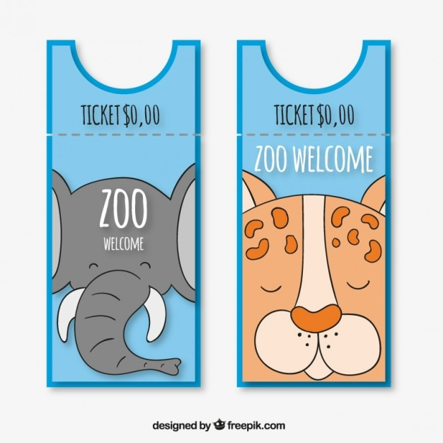 Olifant en tiger zoo entries Gratis Vector