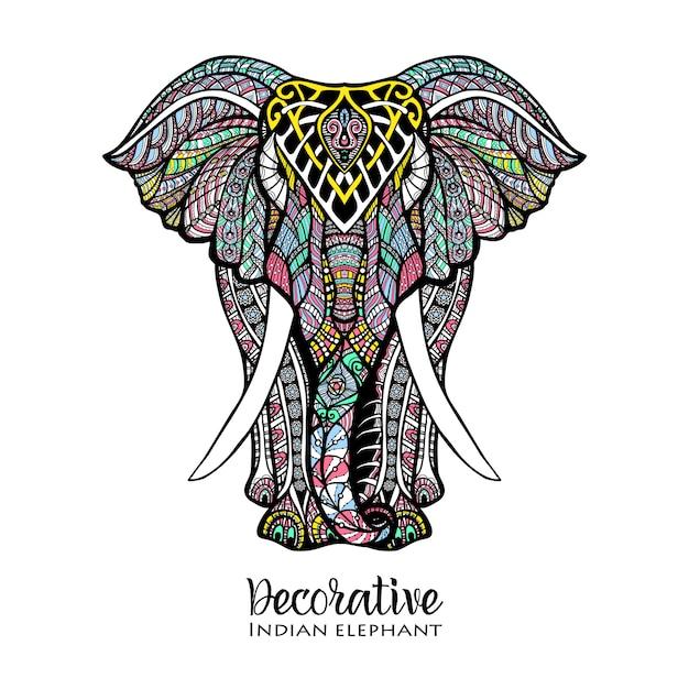 Olifant gekleurde illustratie Gratis Vector