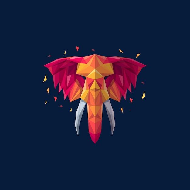 Olifant geometrische illustratie vector sjabloon Premium Vector