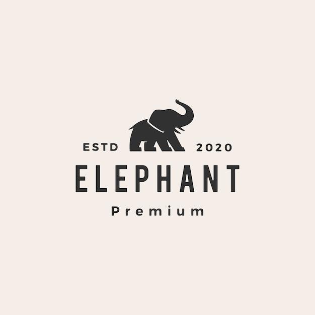 Olifant hipster vintage logo pictogram illustratie Premium Vector
