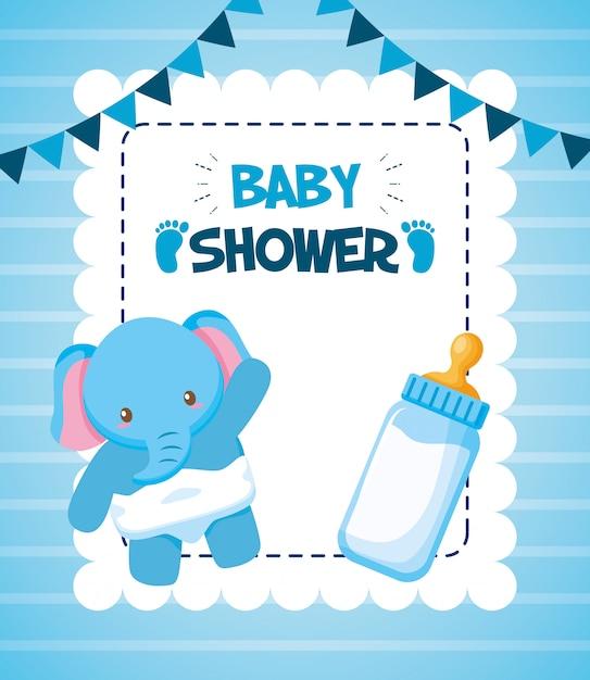 Olifant met melkfles voor baby shower kaart Gratis Vector