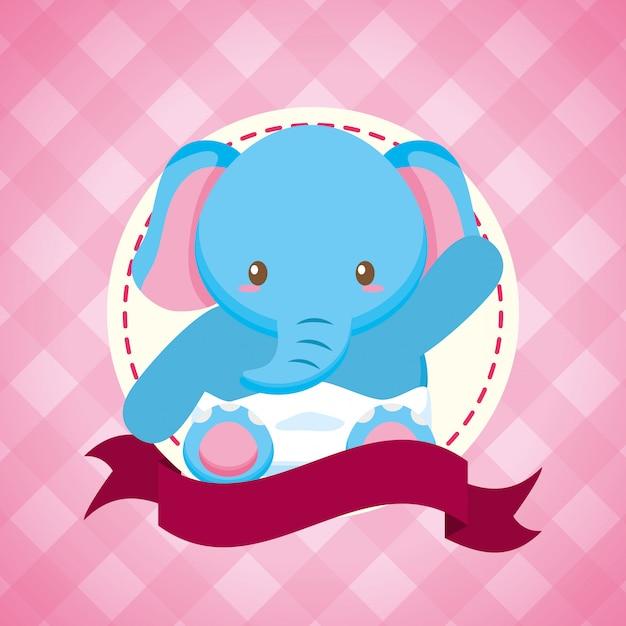 Olifant voor baby shower kaart Gratis Vector