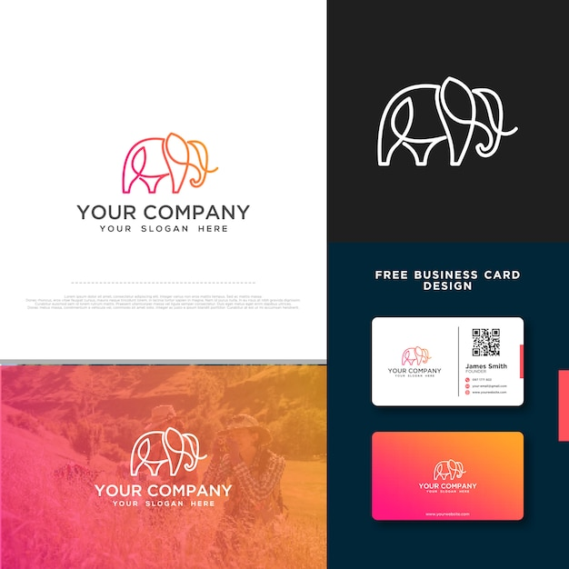 Olifantenlogo met gratis visitekaartjeontwerp Premium Vector
