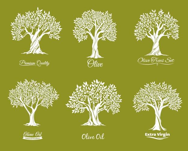 Olijfbomen boerderij pictogrammen instellen Premium Vector