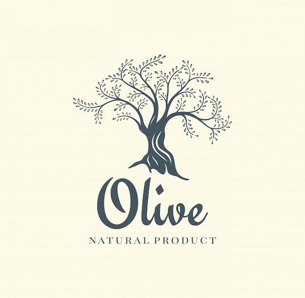 Olijfboom vector logo ontwerpsjabloon voor olie Premium Vector