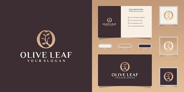 Olijfolie en blad logo ontwerpsjabloon en visitekaartje Premium Vector