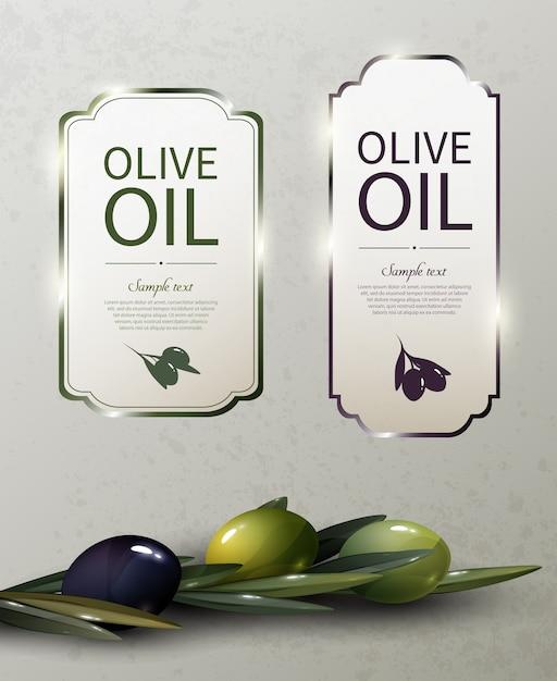 Olijfolie glanzende merklogo's met natuurlijke biologische groene en zwarte olijvenboom Gratis Vector