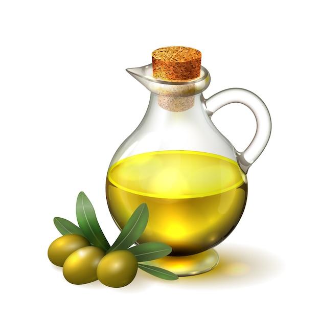Olijfolie in een glazen fles met handvat en kurk en olijven met groene bladeren Premium Vector