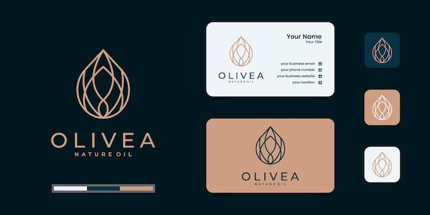 Olijfolie logo en visitekaartje Premium Vector