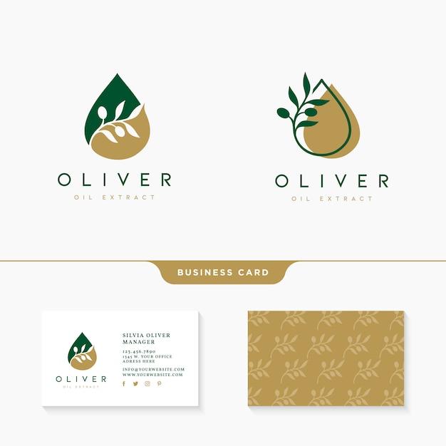 Olijfolie logo ontwerp met sjabloon voor visitekaartjes Premium Vector