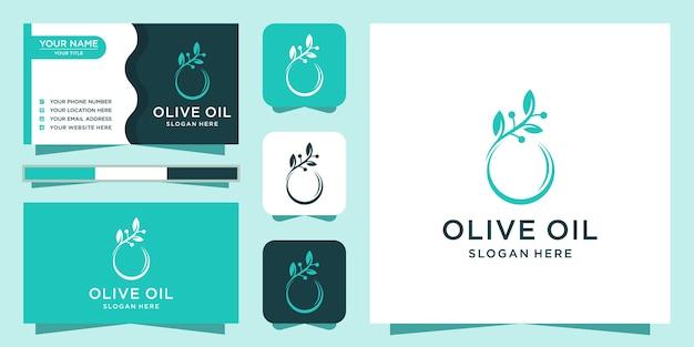 Olijfolie logo ontwerp met visitekaartje Premium Vector