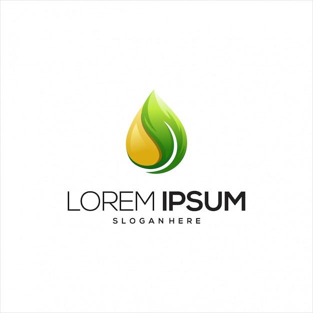 Olijfolie met blad logo sjabloon Premium Vector