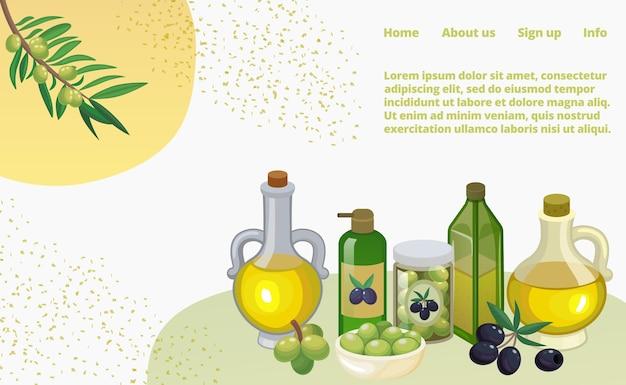 Olijfolie set met producten en decoraties van olijftak, potten en flessen, webpagina. natuurlijke biologische extra vierge olie koken. mediterrane groene en zwarte olijven. Premium Vector