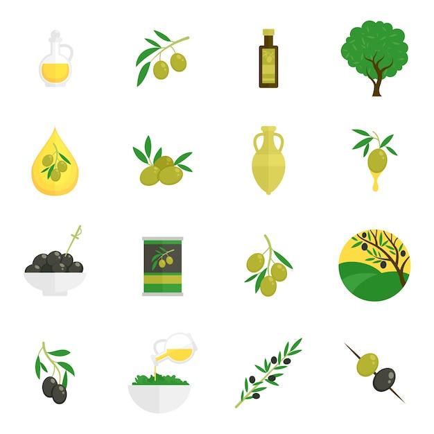 Olijven pictogrammen plat Gratis Vector