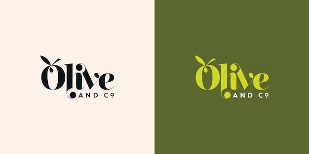 Olive en co typografie logo ontwerpsjabloon Premium Vector