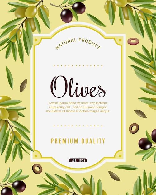 Olive frame achtergrond Gratis Vector