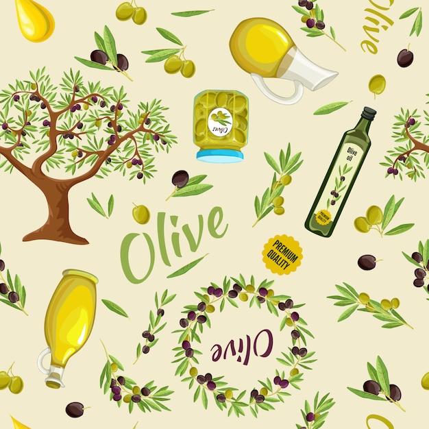 Olive naadloze patroon Gratis Vector