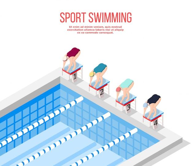 Olympisch zwembad zwemmen Gratis Vector