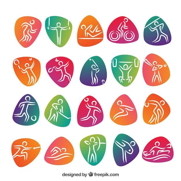 Olympische sporten met gekleurde abstracte vormen Gratis Vector