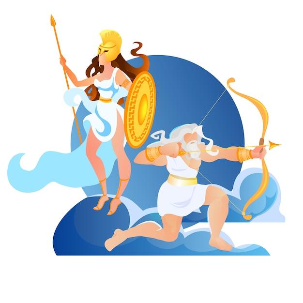 Olympus ancient greece mythologie goden zeus athene Premium Vector